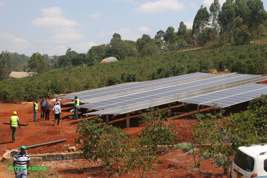 Ground-mount solar plant in construction