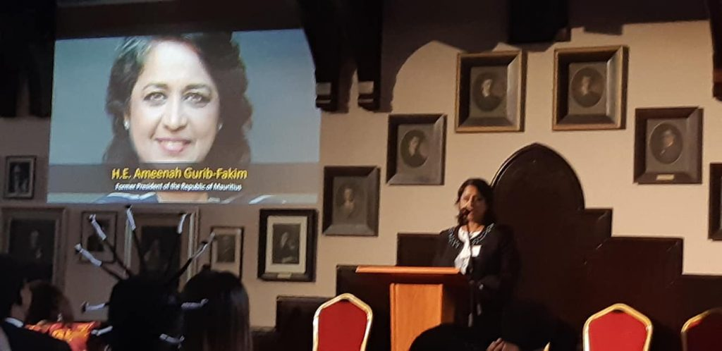 Ameenah Keynote Speech at Cambridge University 1024x498 - What is the place of Science for Africa and SDGs? - An Interview with Former Mauritius President H.E Prof. Ameenah Gurib-Fakim