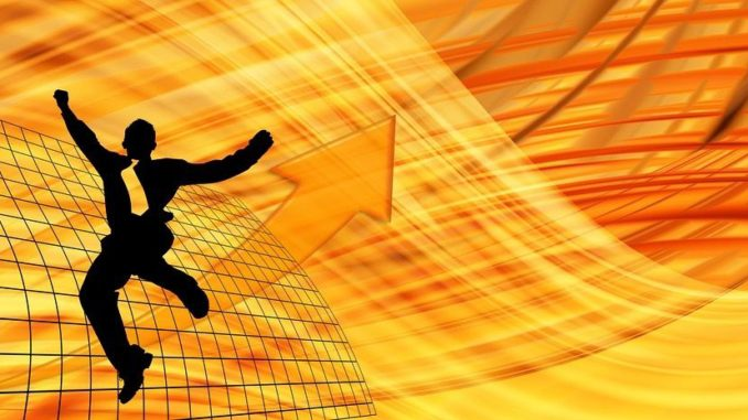 Man jumping to Success