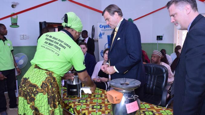 Habiba Ali with US Ambassador Stuart Symington, Kaduna, Nigeria
