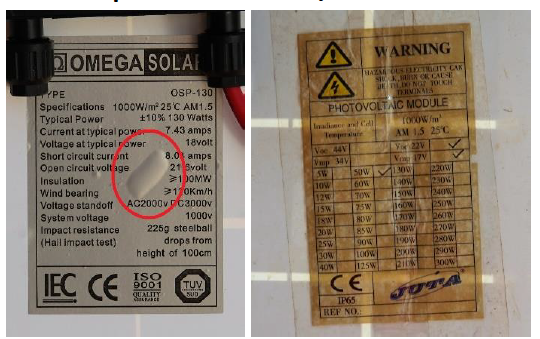 Solar Module Label not well attached - How to inspect visually  a solar PV panel?