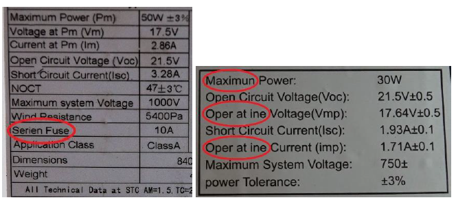Solar Module Label with typos - How to inspect visually  a solar PV panel?