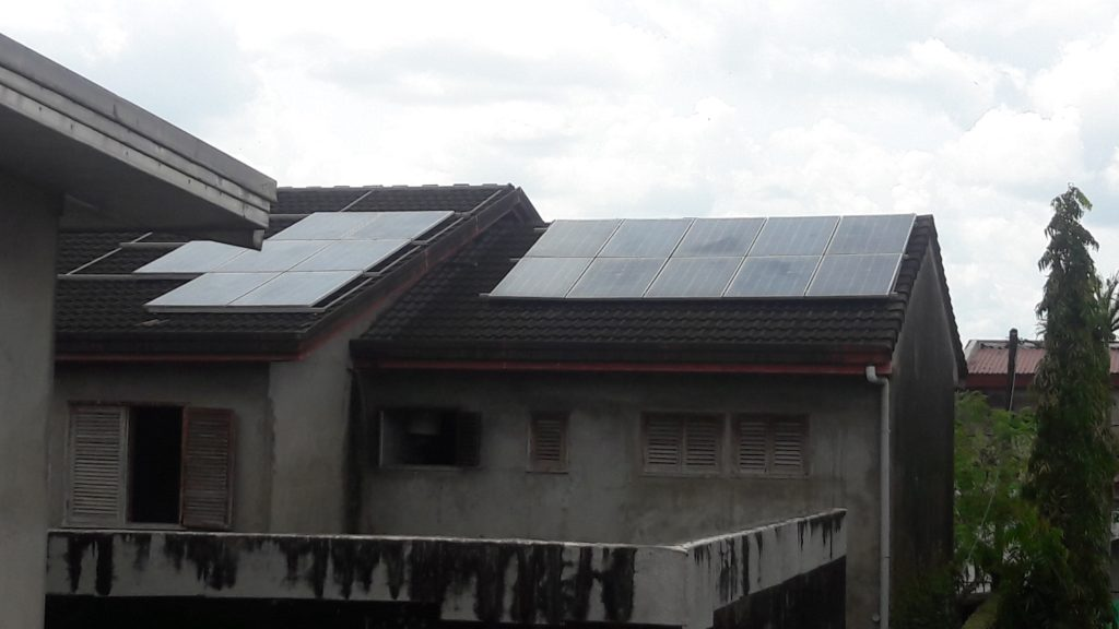 Rooftop Solar Panels in Residential House in Douala