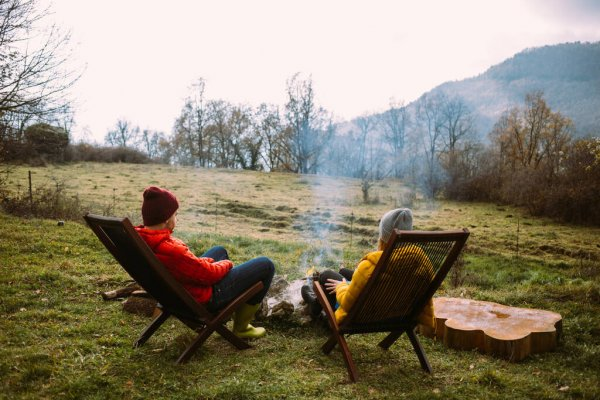 depositphotos 437987152 stock photo couple sit near camping campfire - Living Off the Grid: What it means and How to begin